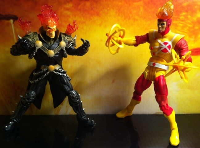DCUC Firestorm and Marvel Legends 2012 Ghost Rider Action Figures