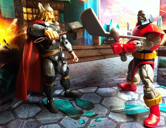 Terrax vs. Marvel Legends Thor 2012 Action Figure Hasbro