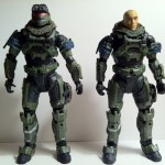 Comparison Halo Reach Series 2 and Series 6 Jun Noble-3 Action Figures Unhelmeted McFarlane Toys 2012
