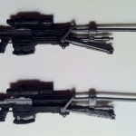 Comparison Halo Reach Series 2 and Series 6 Sniper Rifles from Jun Noble-3 Action Figures Unhelmeted McFarlane Toys 2012