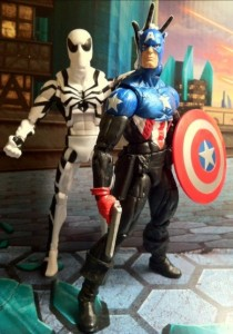 Comparison Photo Future Foundation Spider-Man and Marvel Legends Captain America Bucky Series 2 2012 Hasbro