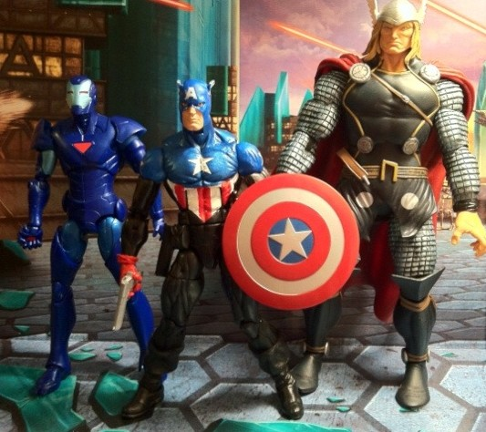 Comparison Photo Avengers Iron Man Thor and Marvel Legends Captain America Bucky Series 2 2012 Hasbro