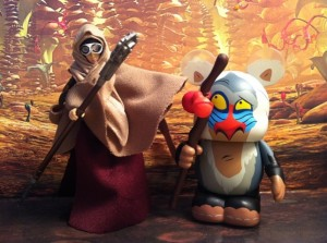 Star Wars Vintage Sandstorm Princess Leia and Vinylmation Rafiki Figures