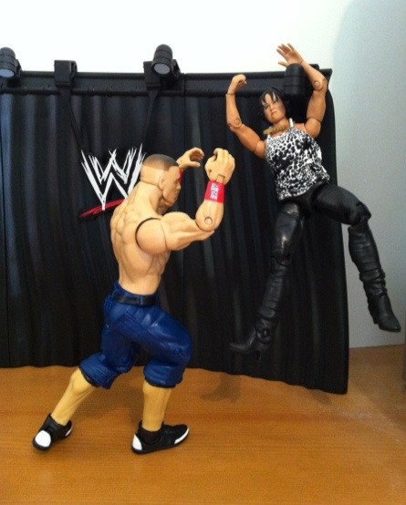 Vickie Guerrero Runs from John Cena on WWE Mattel Build An Interview Set Playset from Best of Pay Per View 2011 Series
