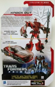 Cardback Knock Out Transformers Prime Action Figure