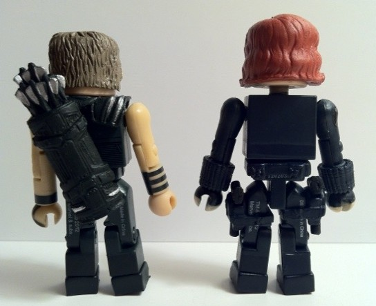 Back of Avengers Black Widow and Hawkeye Figures Movie Marvel Minimates 2012 Diamond Select Toys
