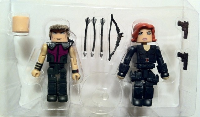 Avengers Hawkeye and Black Widow Figures In Bubble Movie Marvel Minimates 2012 Diamond Select Toys