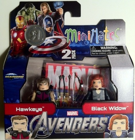 Packaged Avengers Hawkeye and Black Widow Figures Movie Marvel Minimates 2012 Diamond Select Toys