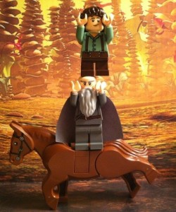LEGO Gandalf and Frodo Minifigures Ride Horse from LEGO Lord of the Rings 9469 Gandalf Arrives