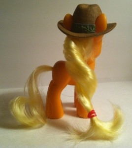 Back of My Little Pony Applejack Toy Figure with Brown Hat Hasbro