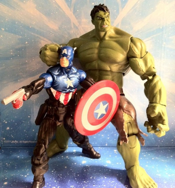 "Comparison of 6"" Avengers Hulk and Marvel Legends Bucky Captain America Action Figures"