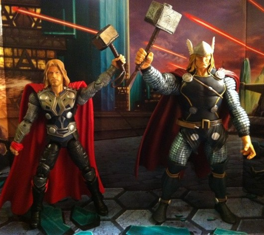 Comparison of Marvel Legends Series 1 Thor and Movie Thor Action Figures