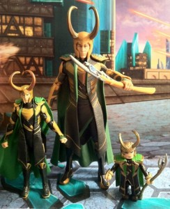 "Comparison of Avengers Loki Action Figures 4"" 6"" Hasbro and Minimates"