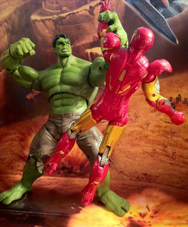 "Avengers Movie Hulk Smashes Iron Man Action Figures 6"" Walmart Studio Series"