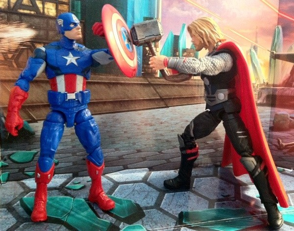 "Avengers Movie 6"" Figures Captain America vs. Thor Marvel Legends Walmart 2012 Hasbro"