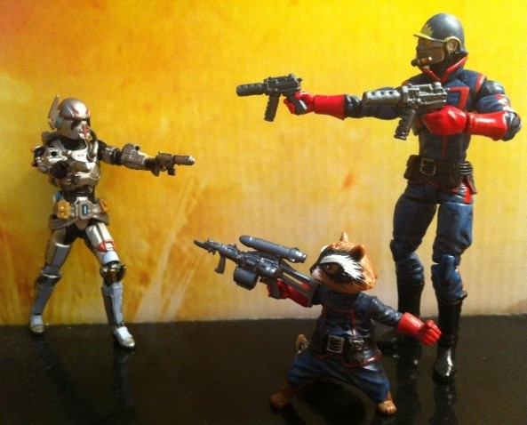 Shae Vizla vs. Rocket Raccoon and Starlord Hasbro Action Figures 2012
