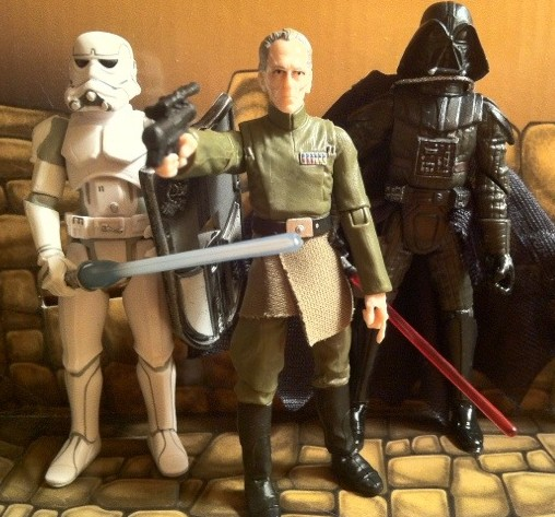 Vintage Tarkin Action Figure with McQuarrie Darth Vader and Stormtrooper Figures