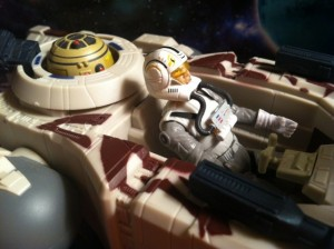 Clone Pilot Oddball Pilots a Mini Y-Wing Bomber with Goldie the Astromech Droid