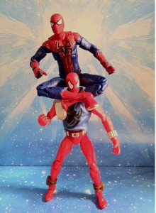 Comparison of Scarlet Spider and Ultra Poseable Spider-Man Action Figures Hasbro 2012