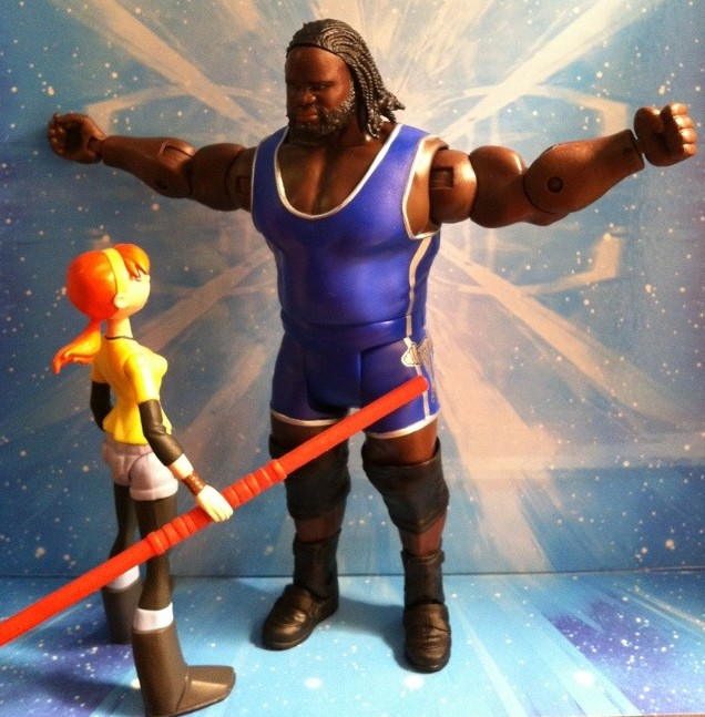 Ninja Turtles 2012 April O' Neil vs. WWE Mark Henry Action Figure