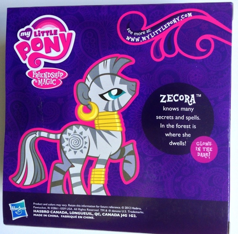 My Little Pony Zecora Toy Back of Box