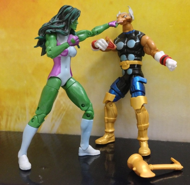 Marvel Universe She-Hulk Puncing out Beta Ray Bill Figures